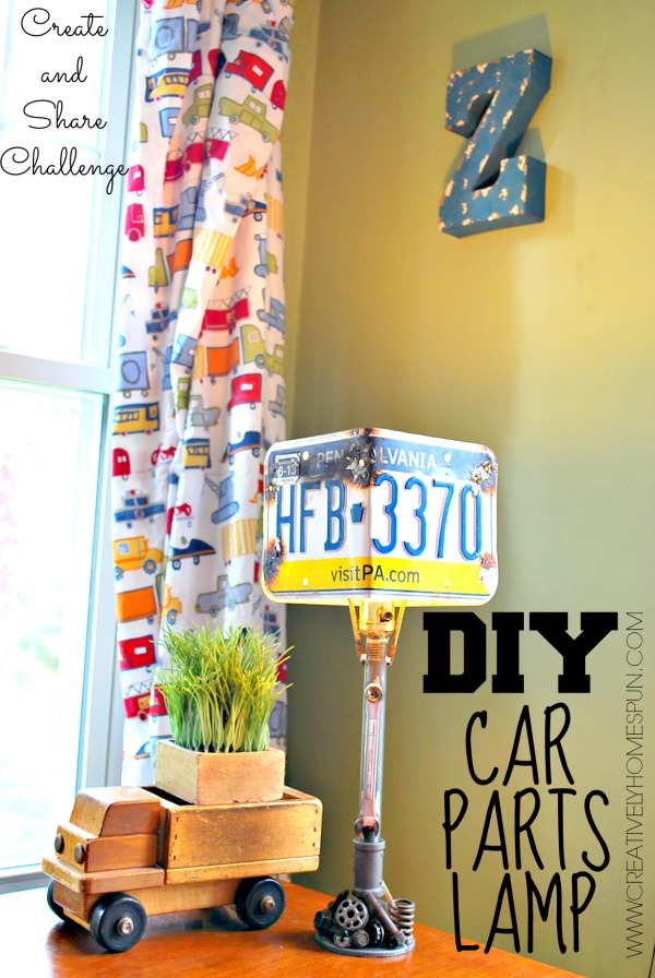 #CreateandShareChallenge : #DIY Car Parts Lamp! Great for a #boysroom or even a #mancave !