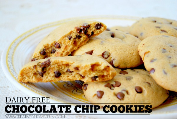 Dairy Free Chocolate Chip Cookies || Creatively Homespun #dairyfree #cookie