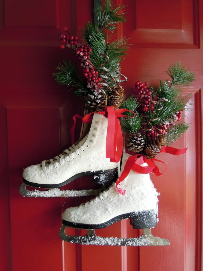 Outside Christmas Decor By Cottage At The Crossroads Vintage Ice Skate Wreath