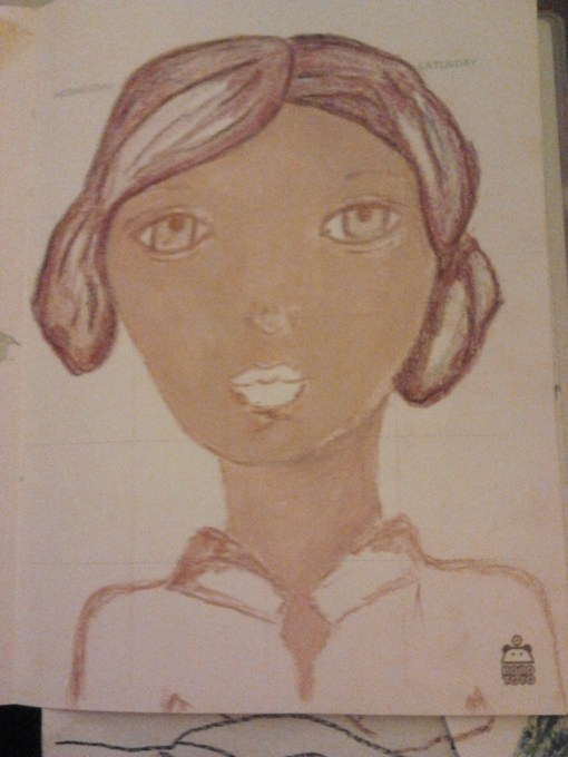 Art journal girl with Purple hair by creativemag.ro