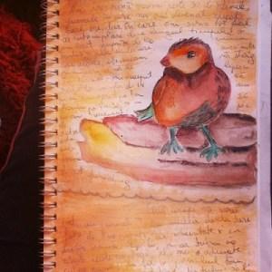 Hrană pentru suflet - o pasăre pe-o pagină din primul meu art journal - bird love - By Cristina Parus