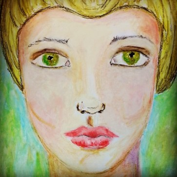 face in oil pastels  @creativemag.ro by Cristina Paus