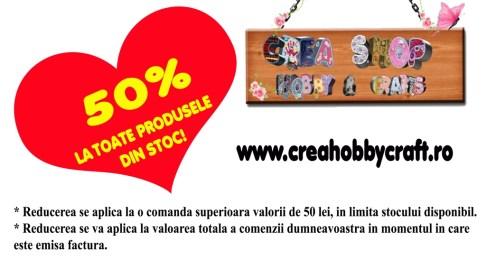 50% reducere pe http://creahobbycraft.ro/