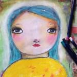 Fetița cu părul albastru turcoaz