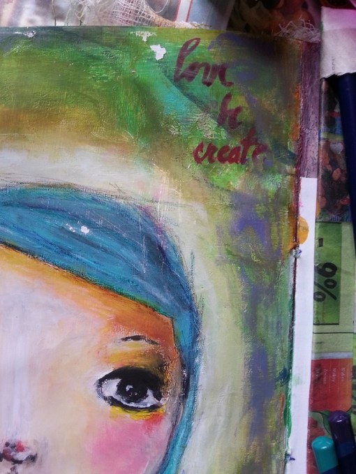 Acrylic Painting - blue hair little girl (detail) by Cristina Parus @ creativemag.ro