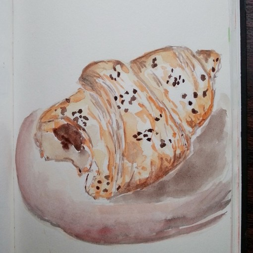 French croissant chocolate filled watercolor illustration - by Cristina Parus @ creativemag.ro