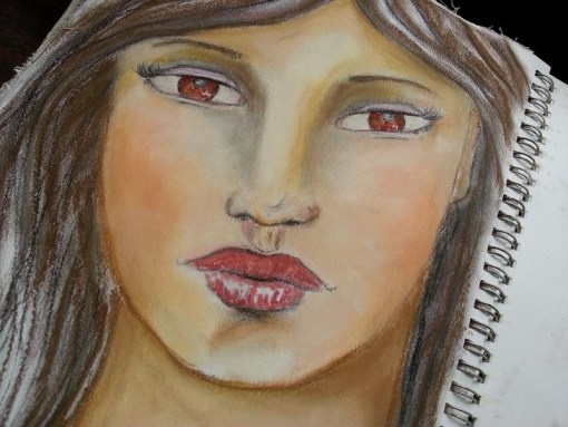 Art journal page - soft pastels whimsical girl in my art journal - by Cristina Parus @ creativemag.ro