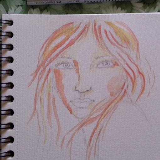 Realistic portrait watercolor sketch by Cristina Parus @ creativemag.ro