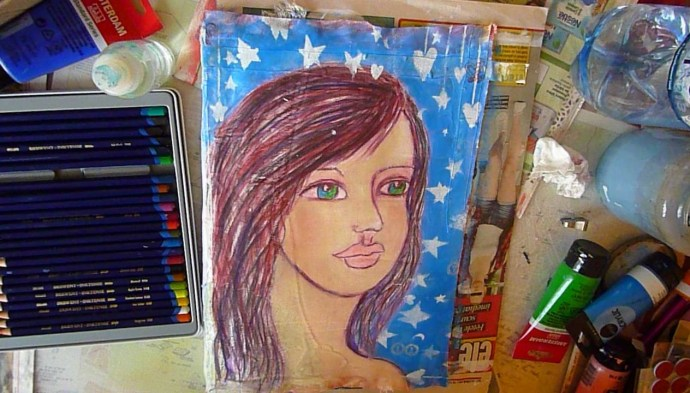Art Journal Mixed Media Cover Girl - by Cristina Parus @ creativemag.ro