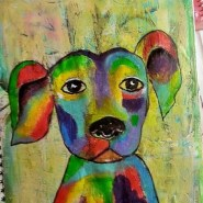 Whimsical colorful dog art journal page by Cristina Parus @ creativemag.ro