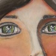 Brunette portrait journal page by Cristina Parus @ creativemag.ro