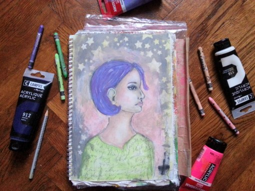 Random faces in my art journal - by Cristina Parus @ creativemag.ro
