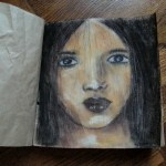 Alternative art journal paper + soft pastel portrait