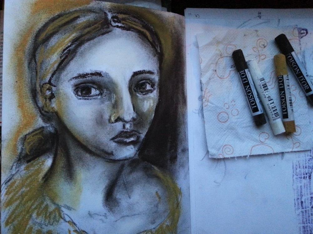 quick soft pastel sketch by Cristina Parus @ creativemag.ro