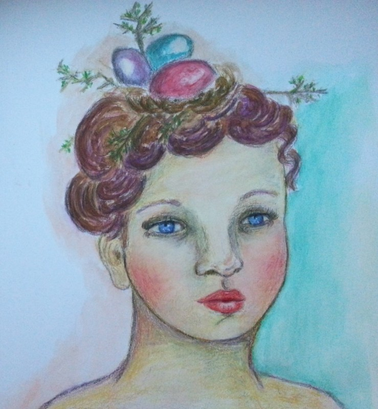 Nest in her hair art journal page by Cristina Parus @ creativemag.ro