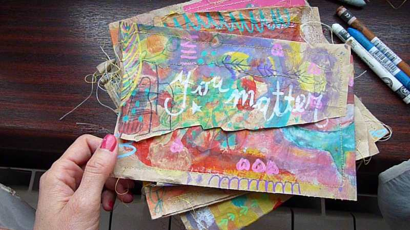 Brown paper bag April Community Thrive Art journaling challenge