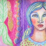 Whimsical faces in oil pastels