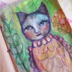 Primitive oil pastels and acrylics art journal page {video}