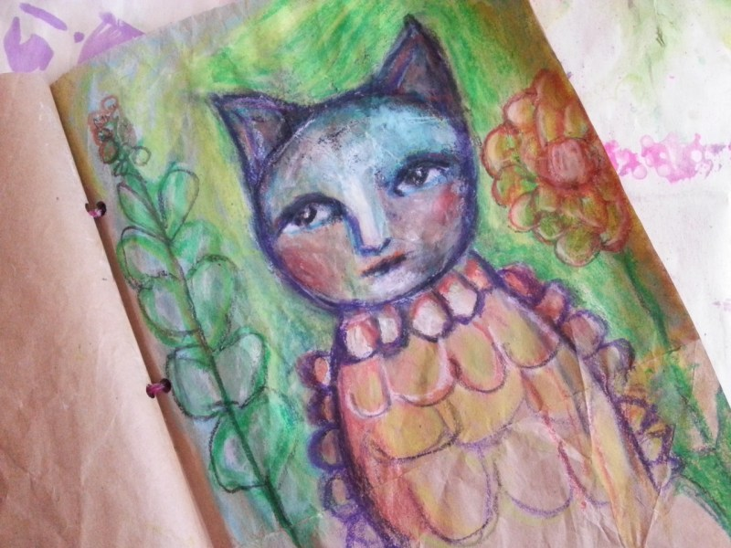 primitive oil pastel and acrylic art journal page {VIDEO} by Cristina Parus @ creativemag.ro