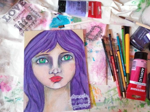 How to turn an old canvas into new art  by Cristina Parus @ creativemag.ro