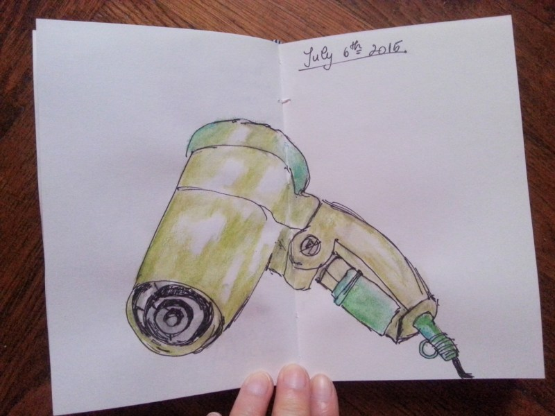 Hair drier - one sketch a day by Cristina Parus @ creativemag.ro