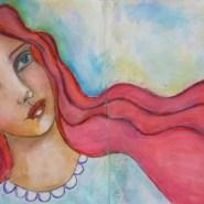Mixed media Redhead beauty by Cristina Parus @ creativemag.ro
