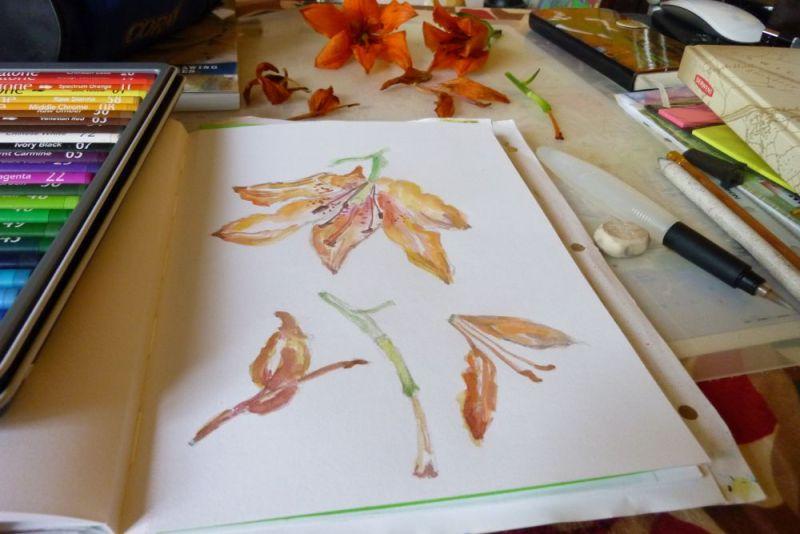 Watercolor Orange Lilies by Cristina Parus @ creativemag.ro