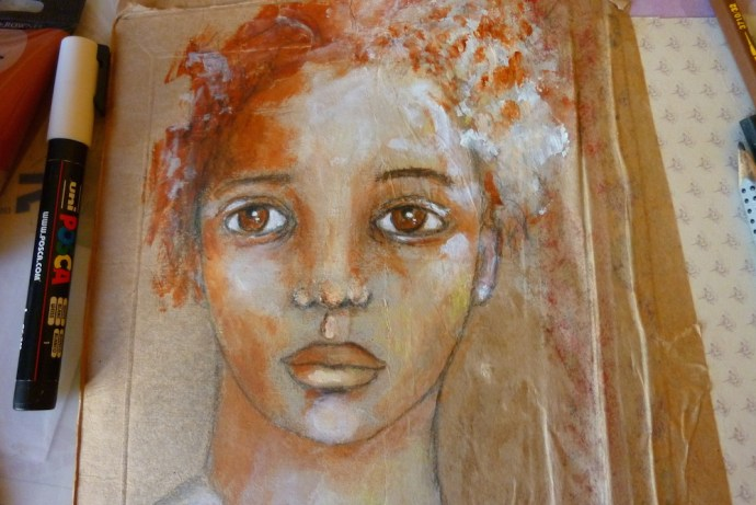 Mixed media Pretty face by Cristina Parus @ creativemag.ro
