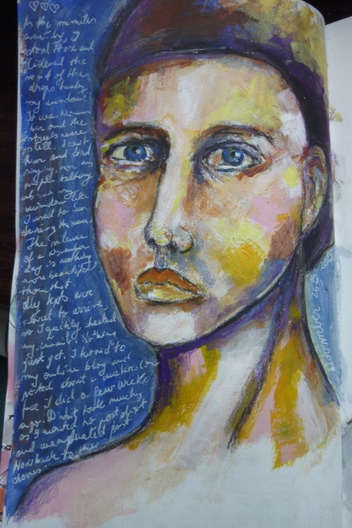 HIs blue eyes - mixed media journal page by Cristina Parus @ creativemag.ro .