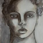 Charcoal sepia mixed media portrait