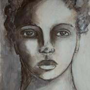 Charcoal, sepia, mixed media portrait by Cristina Parus @ creativemag.ro