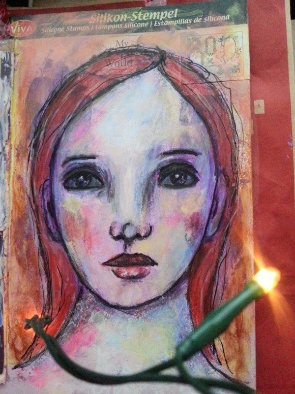junk journal paint on whatever surface you find suitable mixed media face by Cristina Parus @ creativemag.ro