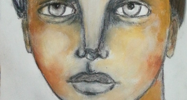 Drawing with charcoal and adding paint to it - by Cristina Parus @ creativemag.ro