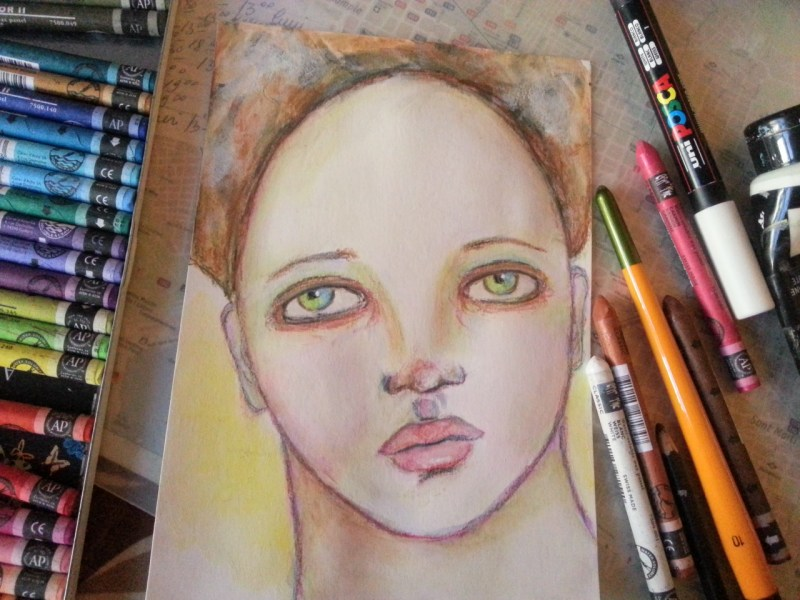 Whimsical face on loose Mixed Media Paper by Cristina Parus @ creativemag.ro