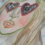 Heart sunglasses watercolor face