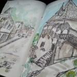 Sketching buildings in watercolor