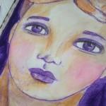 Purple pen face sketch