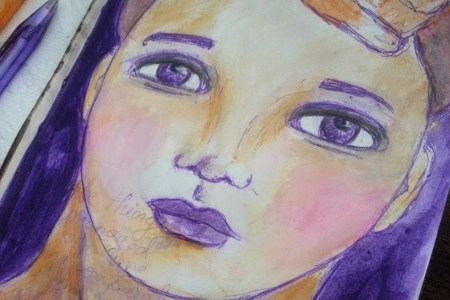 Purple pen face sketch by Cristina Parus @ creativemag.ro