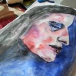 Messy watercolor profile face