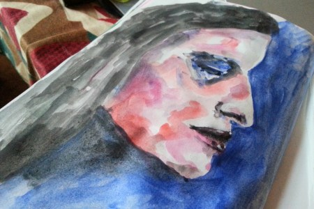 Messy watercolor profile face by Cristina Parus @ creativemag.ro