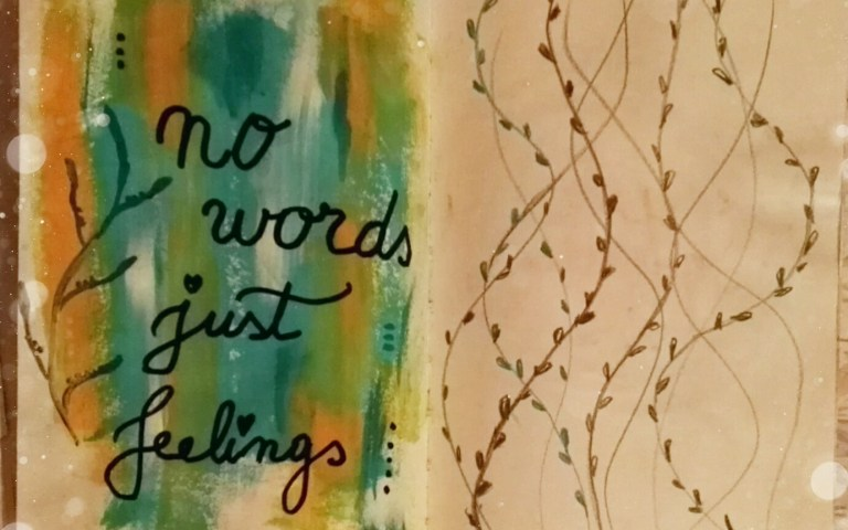 No words, just feelings - art jourrnal page by Cristina Parus @ creativemag.ro