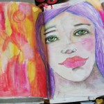 20 minutes art journaling – Collage and paint