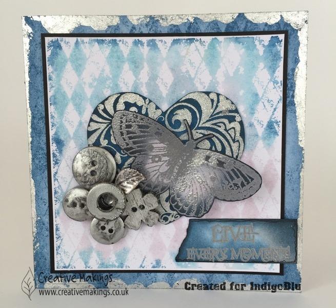 IndigoBlu Stamps- Heart & Butterfly, Precious Metals Challenge