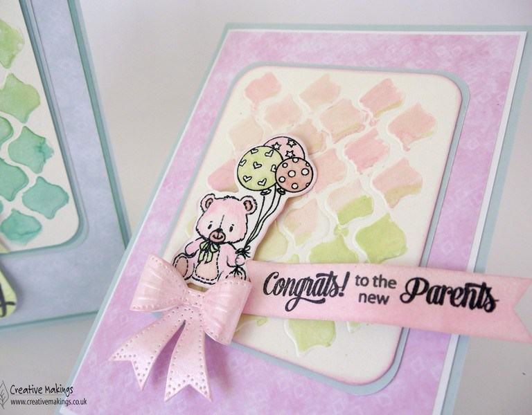 Baby Cards using Iridescent Watercolours – For Creative Expressions