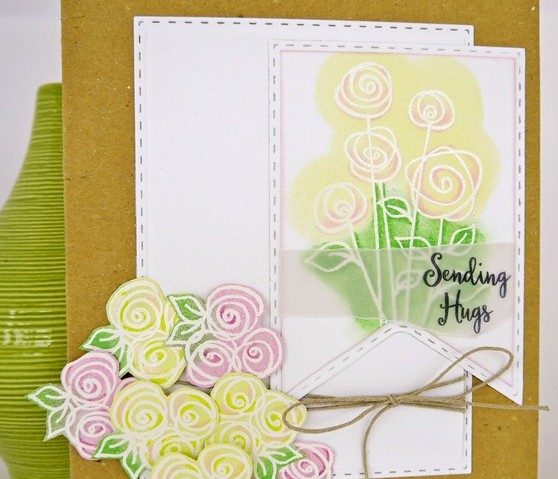 Sending Hugs with Doodled Roses- for Creative Expressions