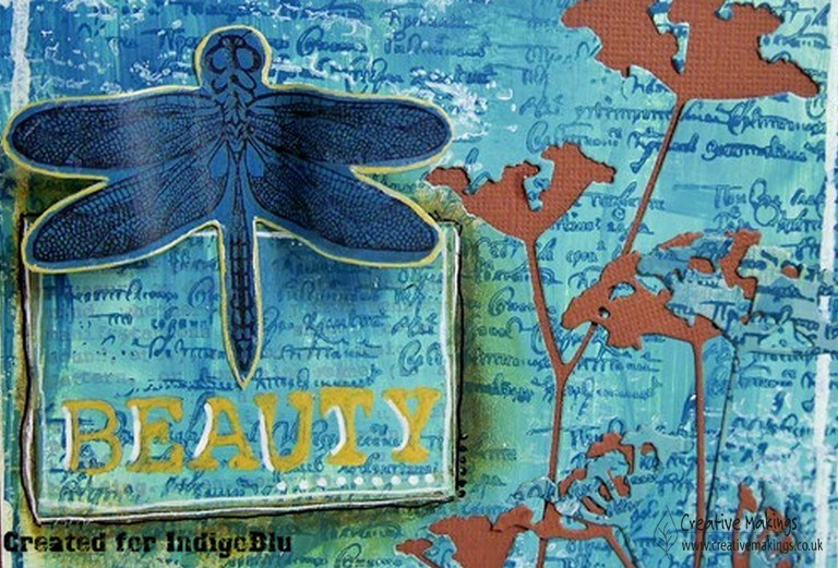 Use stamps & paints background for a Dragonfly beauty – IndigoBlu