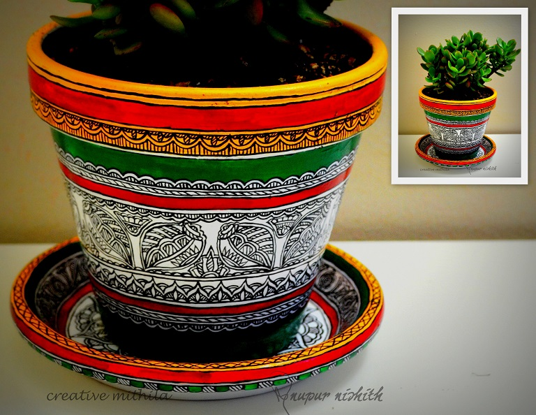 Plant pot with saucer painted in Mithila / Madhubani Painting (green)