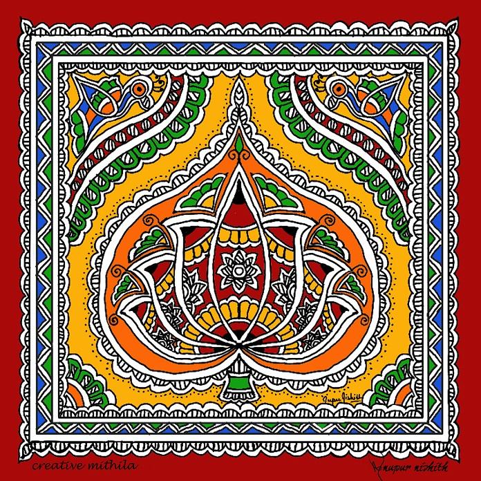 Lotus in Mithila / Madhubani Painting (Doodle on Phone Samsung Galaxy Note4)