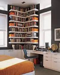 Home office in corner