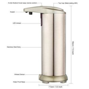 Touchless stainless steel automatic soap dispenser